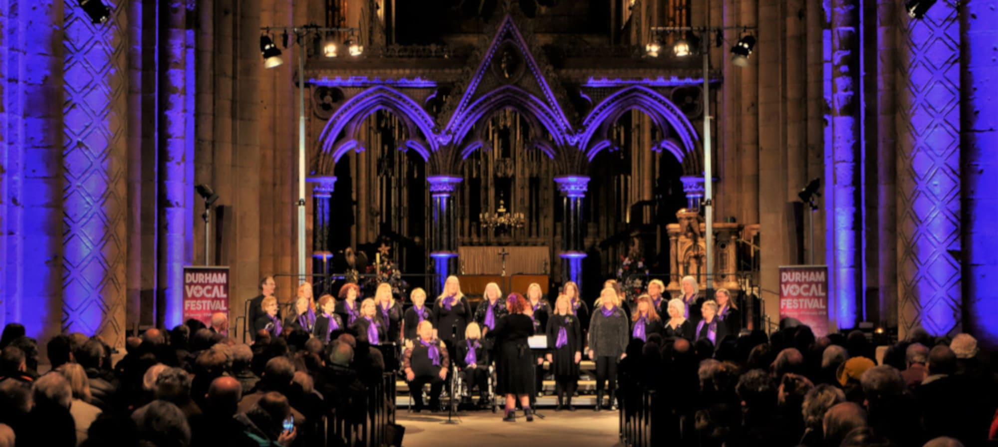 Unity Choir. led by The Singing Elf, performing at Durham Vocal Festival at Durham Cathedral Feb 2019