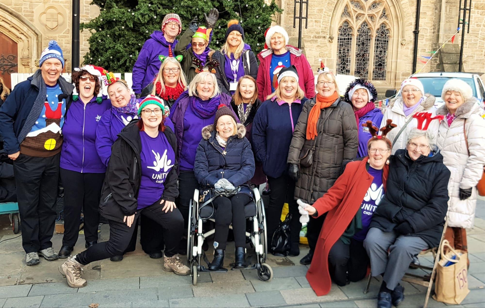 Unity Choir, led by The Singing Elf, Durham Market Place, Christmas 2018